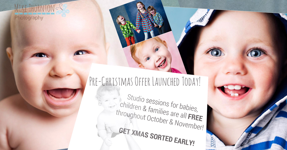 Christmas Studio portrait offer for babies, children and families by Mike Thornton Photography