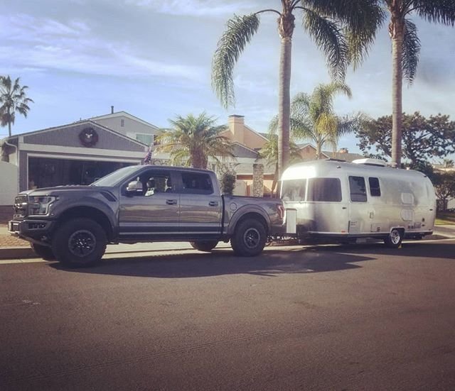 One of the best set-ups we've seen!  Ford #raptor with the 22 Bambi Sport.  #bambi #goroam #roamandboard #fordraptor #airstream #gooutside #silverlining #perfectpairing #camping #pch #socal #deserttrip #101