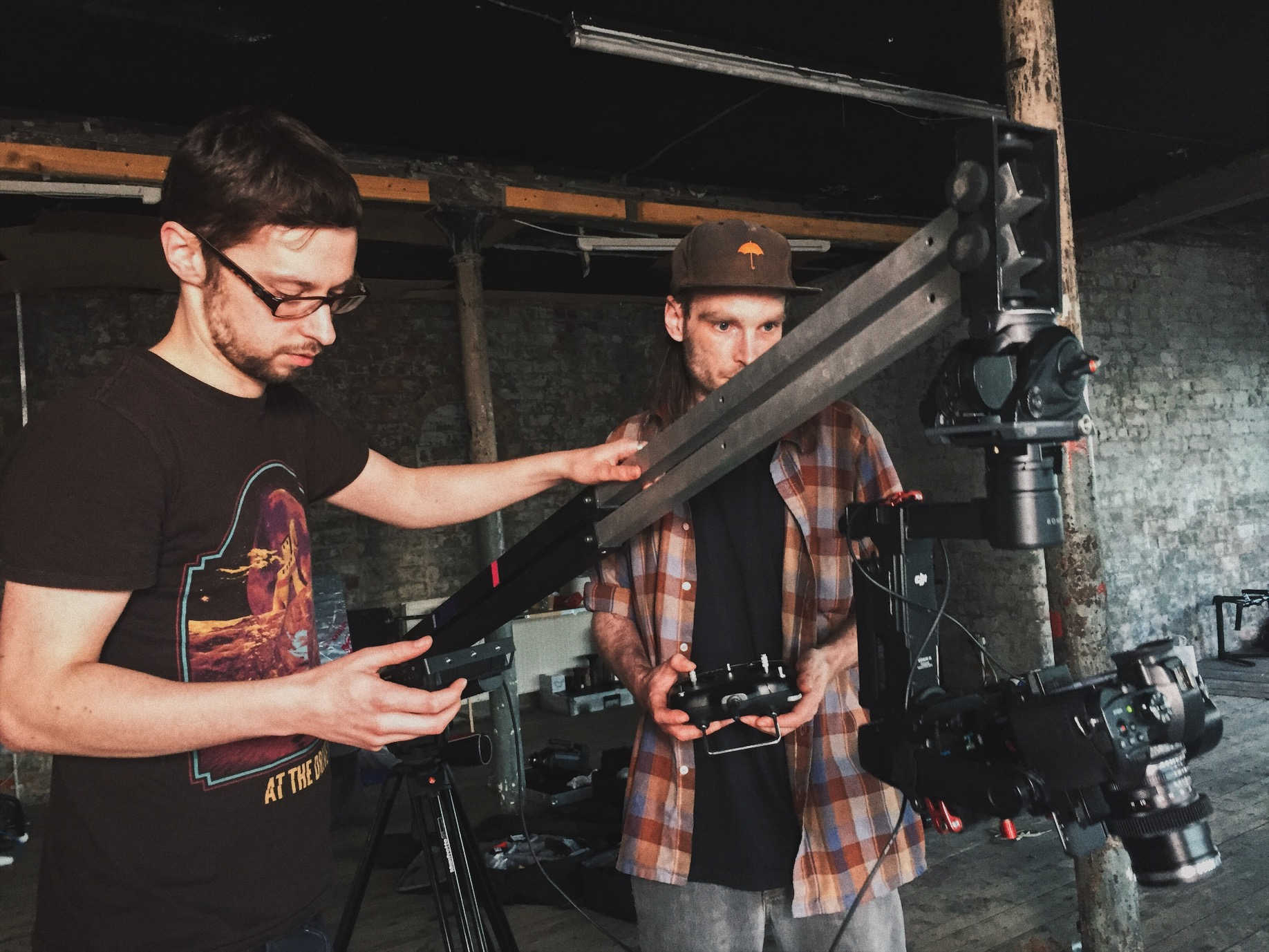 Director of Photography Andrew O'Connor (L) and 1st AC Andy MacDonald, using the light weight camera system used to create the unique camera movement of From When I Wake The Want Is