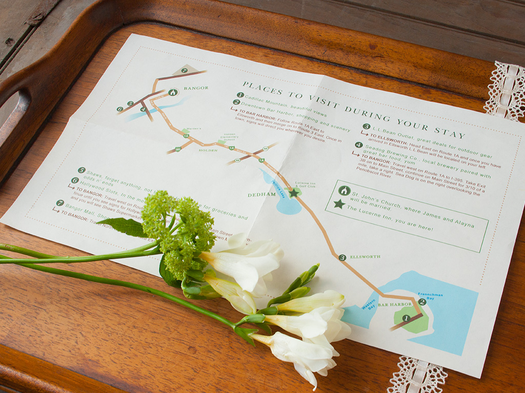 Mossy green, apple red and autumn orange rustic fall invitation design. Custom map of local area with nearby must-see places recommended by the couple and directions to the ceremony to the reception included in the welcome basket.