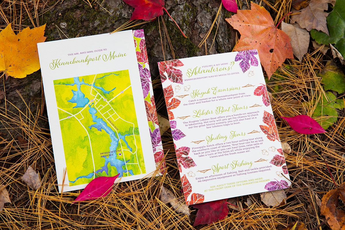 Hari + Mike, September Wedding in Kennebunkport — Custom Map of Local Area