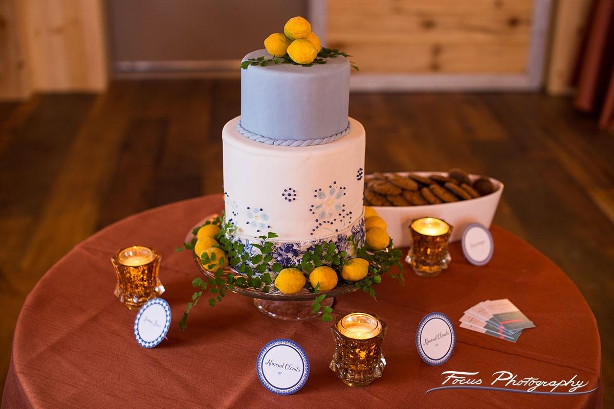 Blue Willow Wedding Dessert Bar and Signage