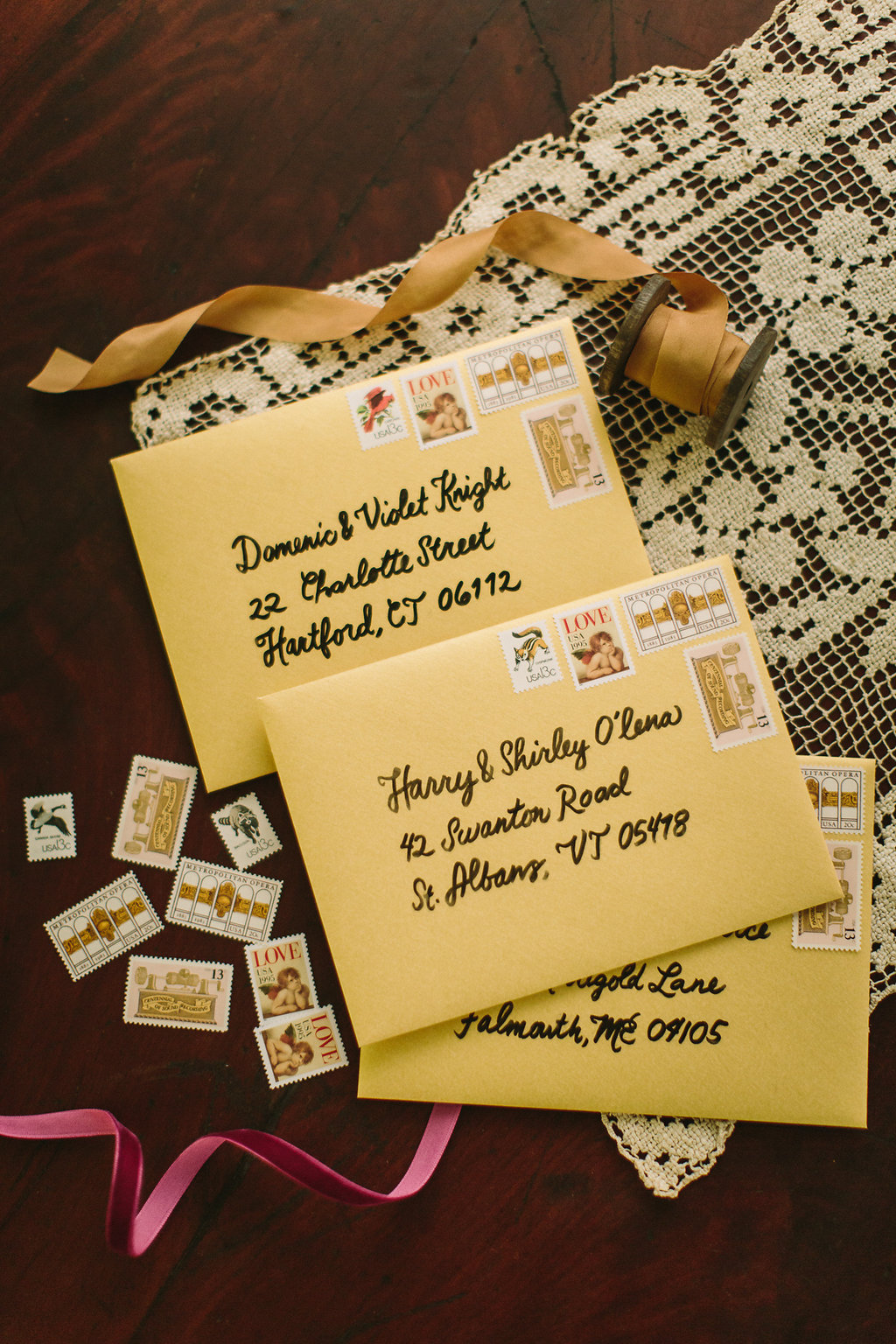 November Downtown Wedding Envelopes with Vintage Stamps