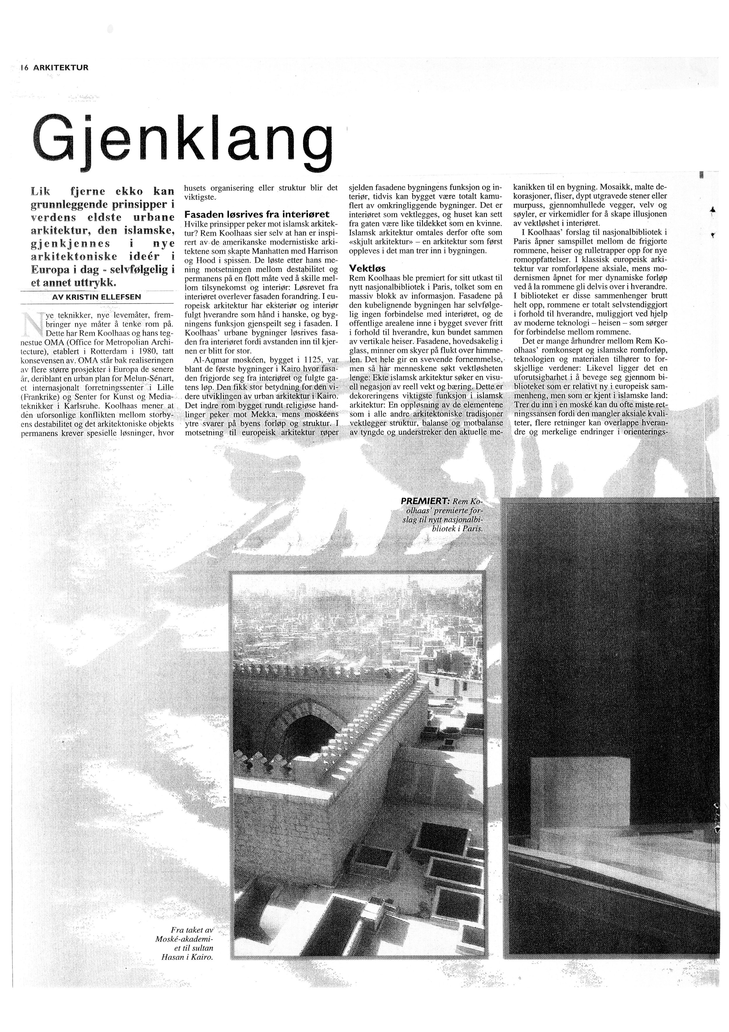 Frilansjournalist, arkitektur og teknologi, MORGENBLADET, 1994-96. -