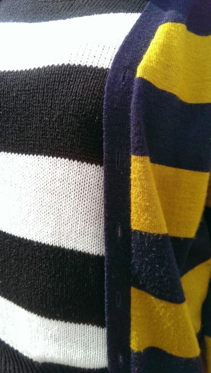 Stripe sweater and stripe cardigan
