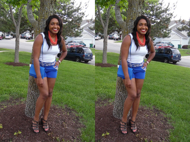 jasmine diane shows how to wear a white tank top to a family bbq with shorts from dullard's. She is a Black Kansas City blogger and content creator.