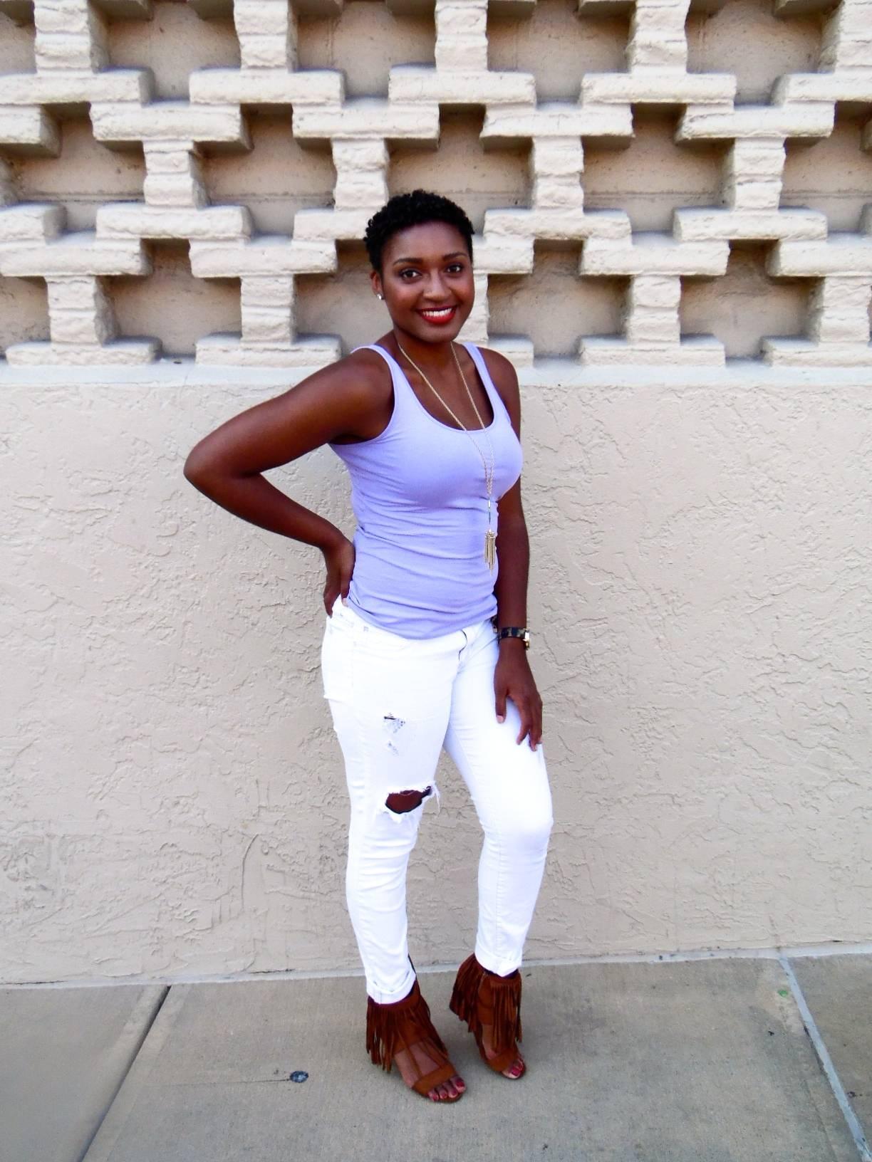 jasmine diane Lavender Tank + White Skinny Jeans
