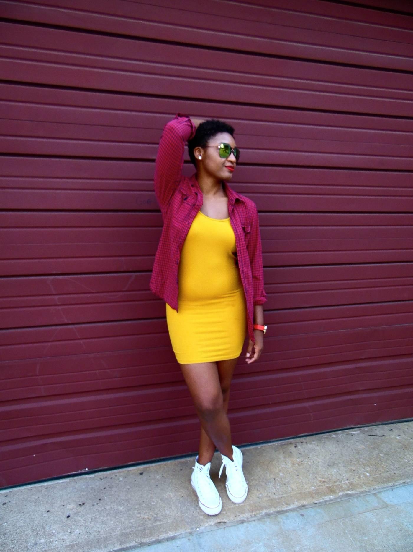 jasmine diane Yellow Dress + Red Plaid