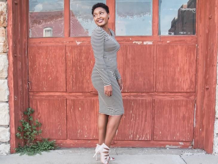 Stripe Dress + Strappy Heels by jasminediane.com