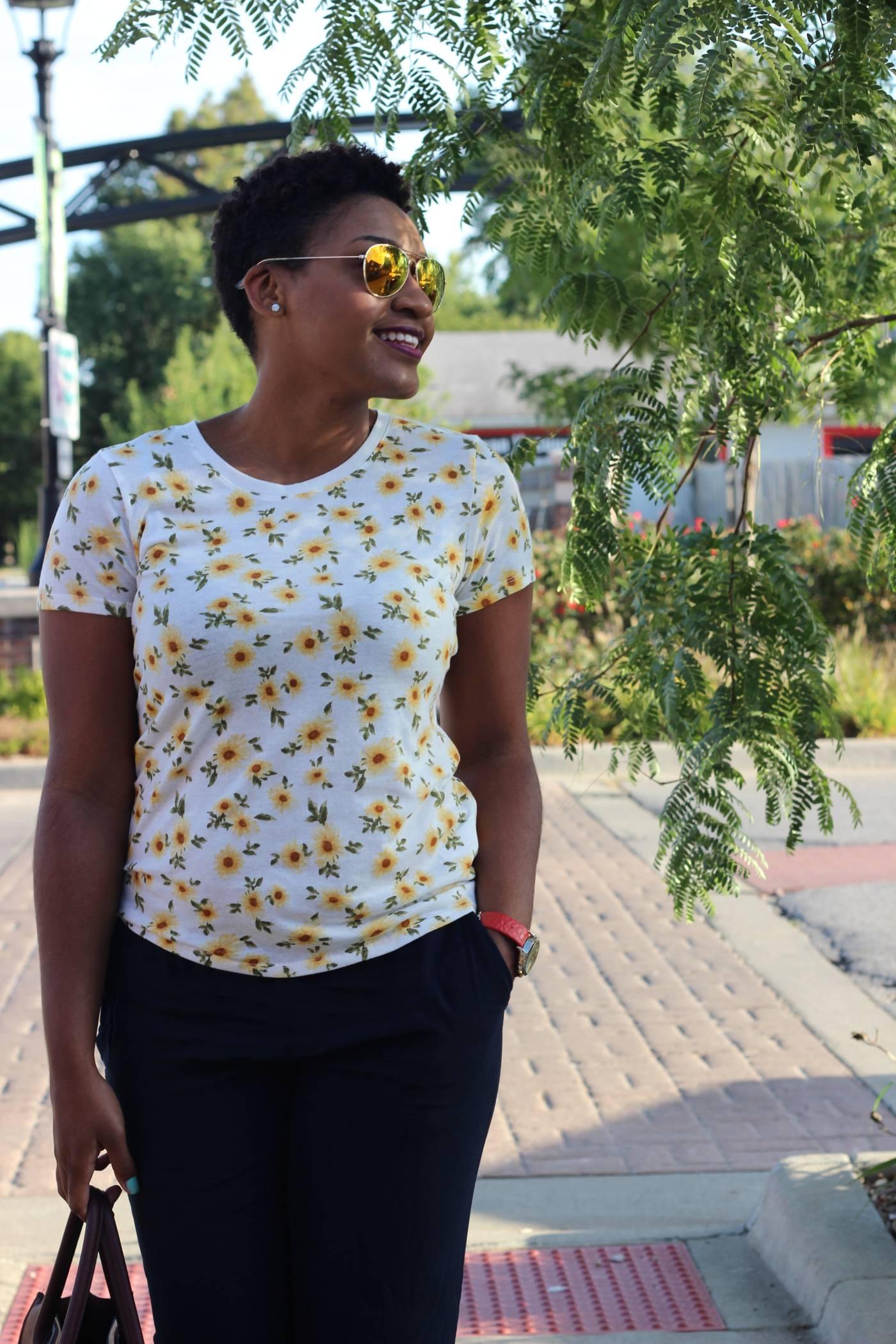 How to Style: Flower Tee + Trousers + Denim by jasminediane.com