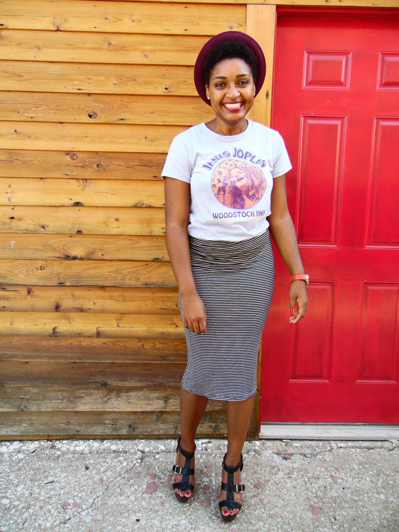 Jasmine Diane Woodstock T-shirt + Stripe Pencil Skirt