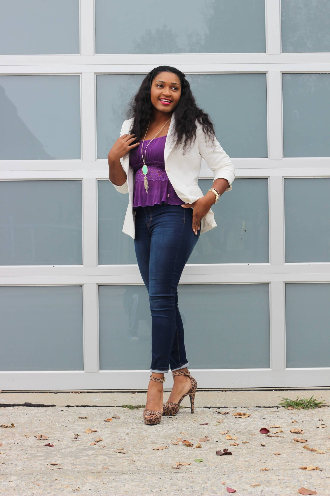 Smiles + Lace by Jasmine Diane of jasminediane.com. Black fashion bloggers, bloggers in Kansas City. Big Smiles. Purple lace. White blazer. Skinny jeans. Bloggers of color. Lace. Be Happy. Inspire.