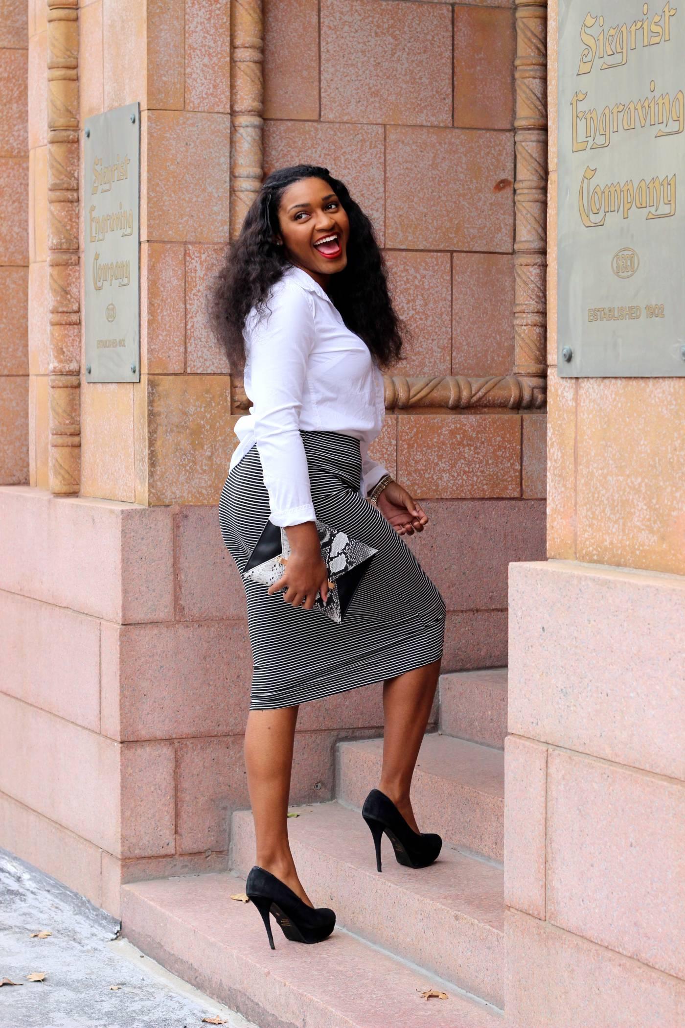 white pencil down + stripe pencil skirt by jasminediane.com by jasmine cooper in kansas city