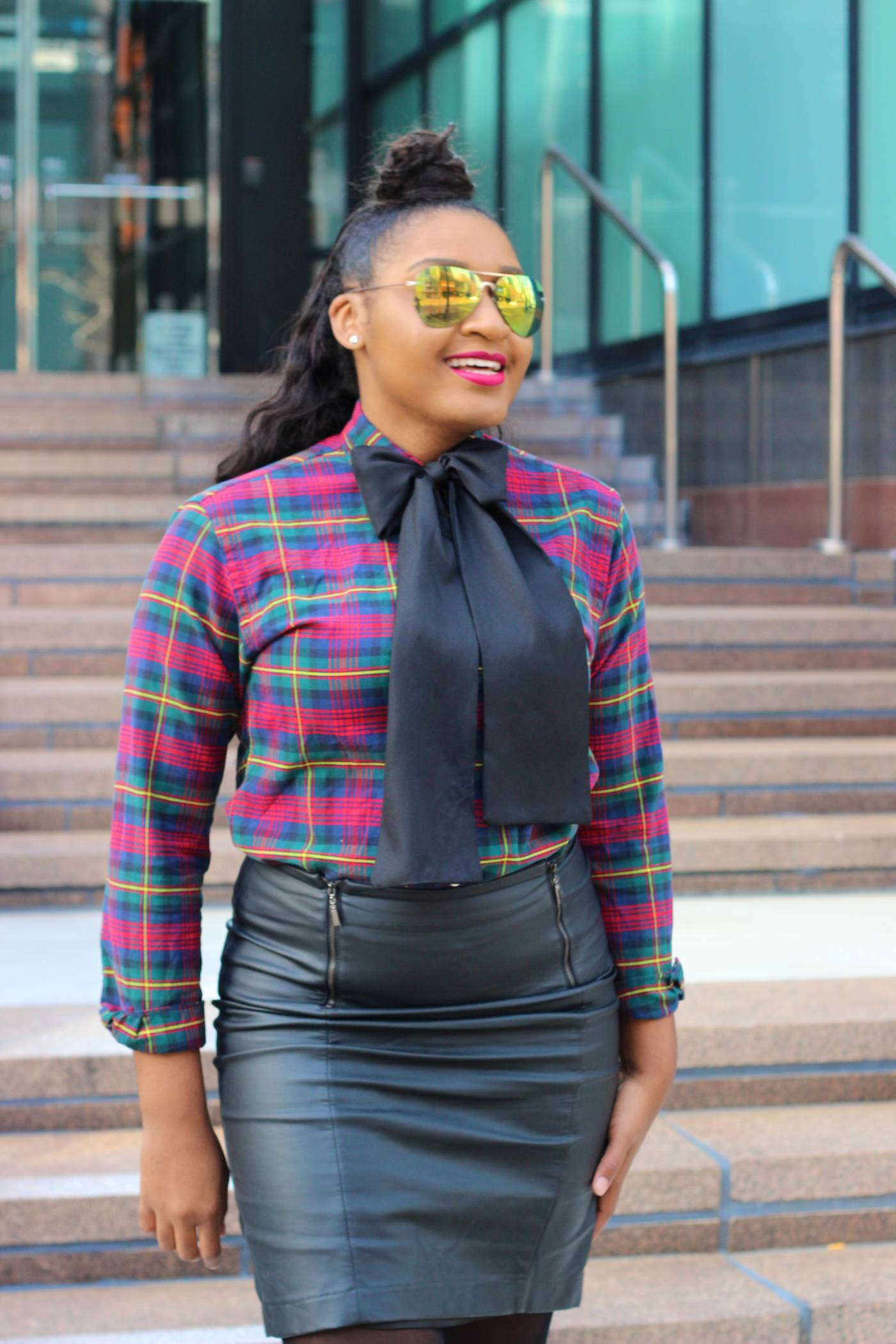 plaid top and leather pencil skirt