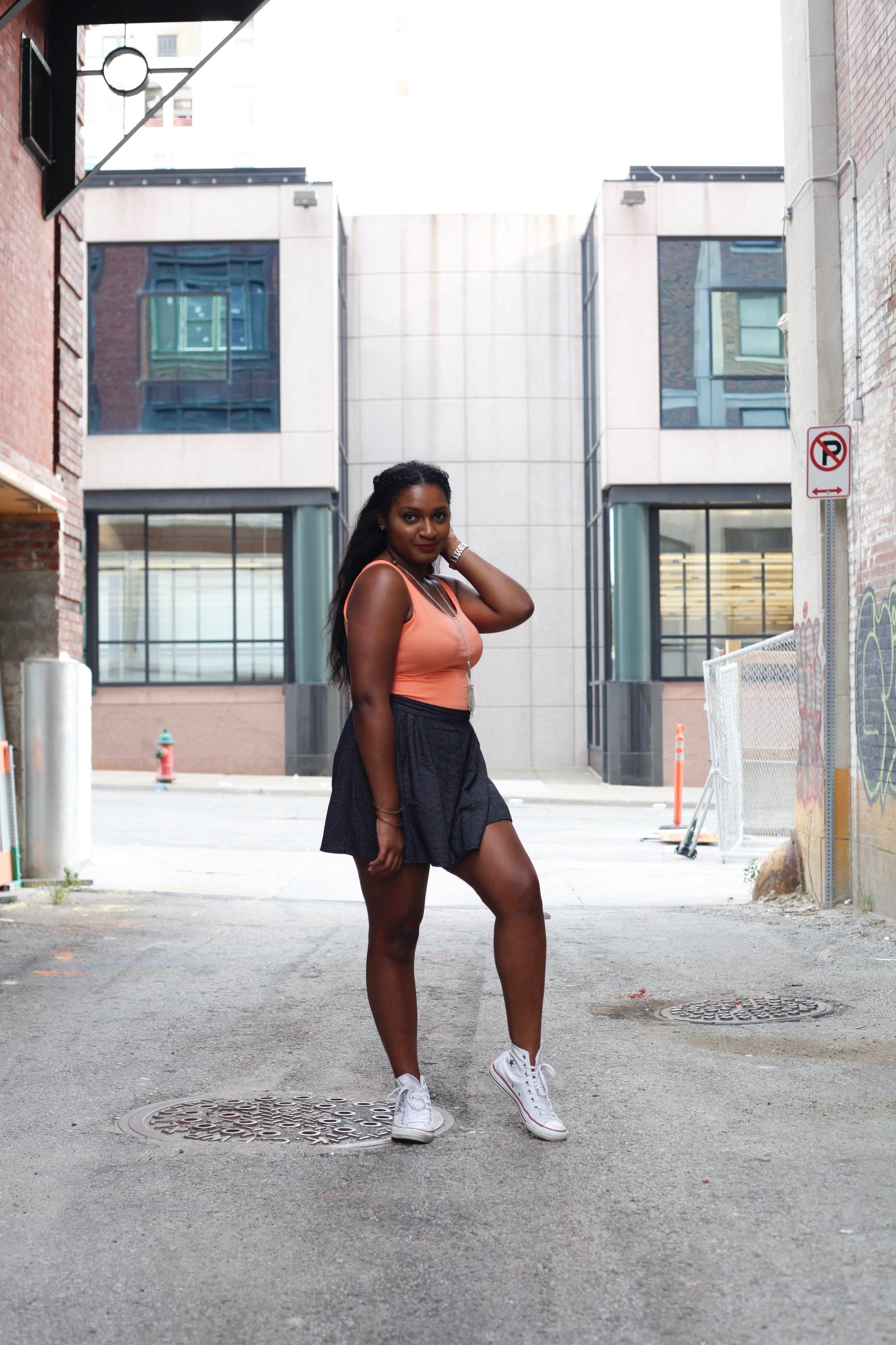 white sneakers + skater skirt + self-love by blogger, jasmine cooper, of jasminediane.com
