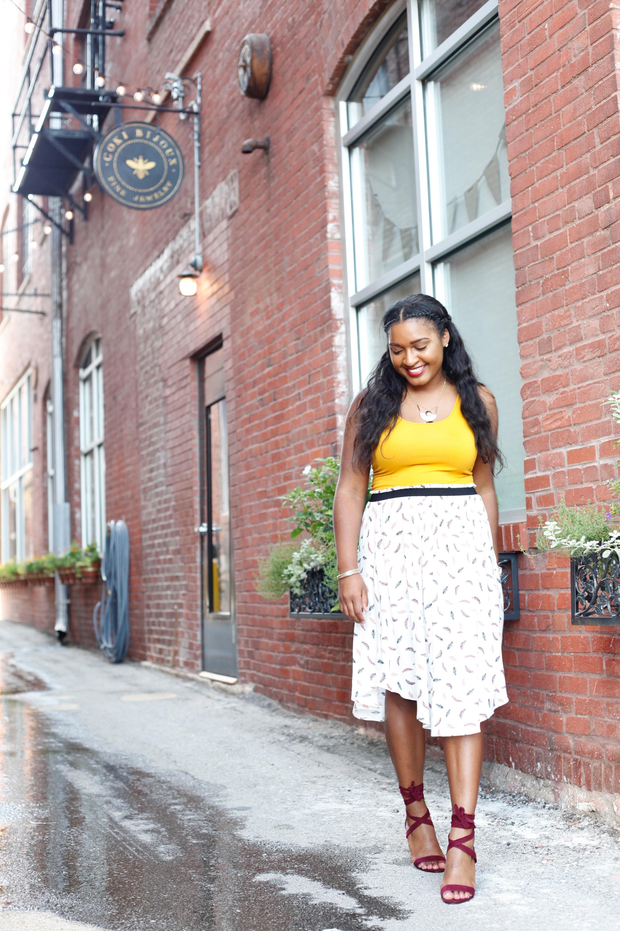 Kansas City blogger. Printed Skirt + Sexy Wrap Wedge Sandals by jasmine cooper of jasminediane.com