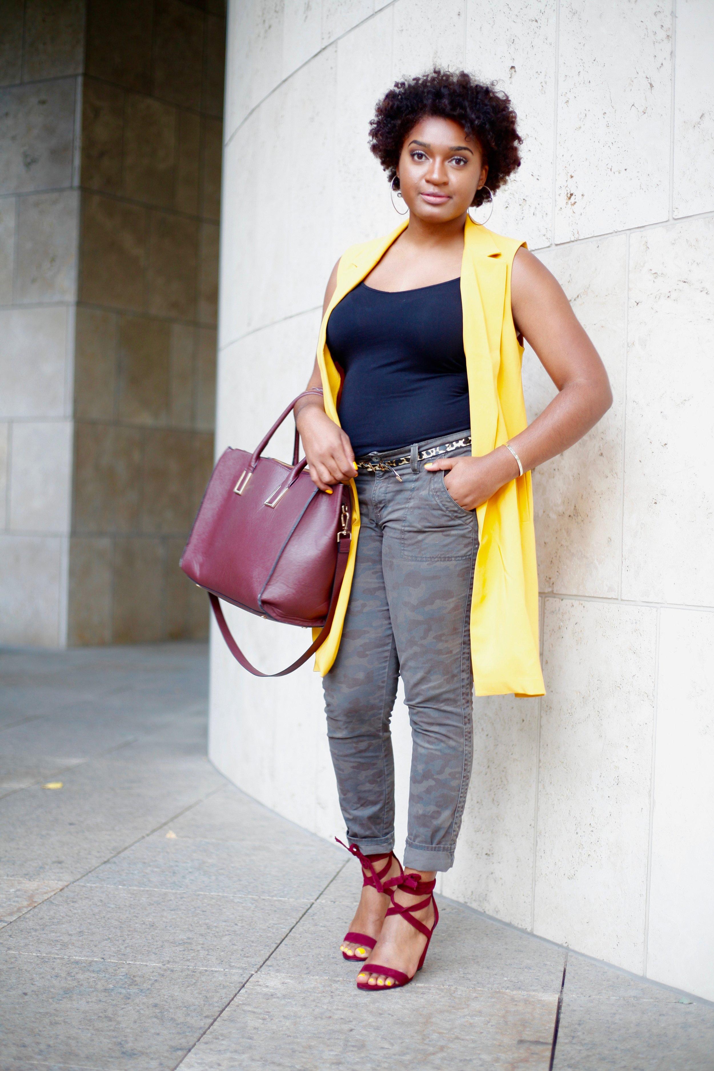 Mustard Vest + Wrap Wedge Sandals by jasmine cooper, blogger of jasminediane.com