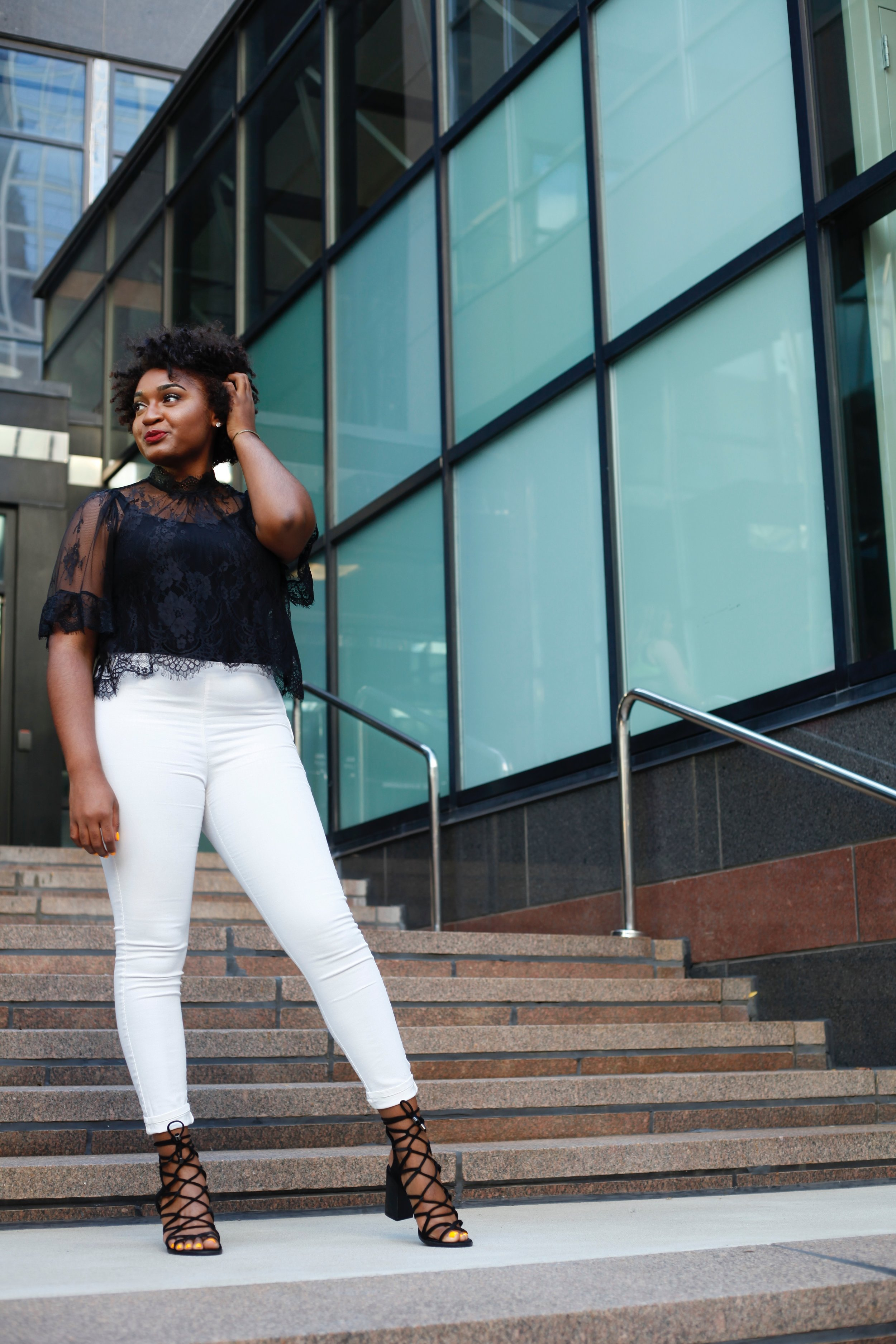 Black Lace Blouse and Strappy Heels for Date Night by Jasmine Diane. Fashion Blogger.