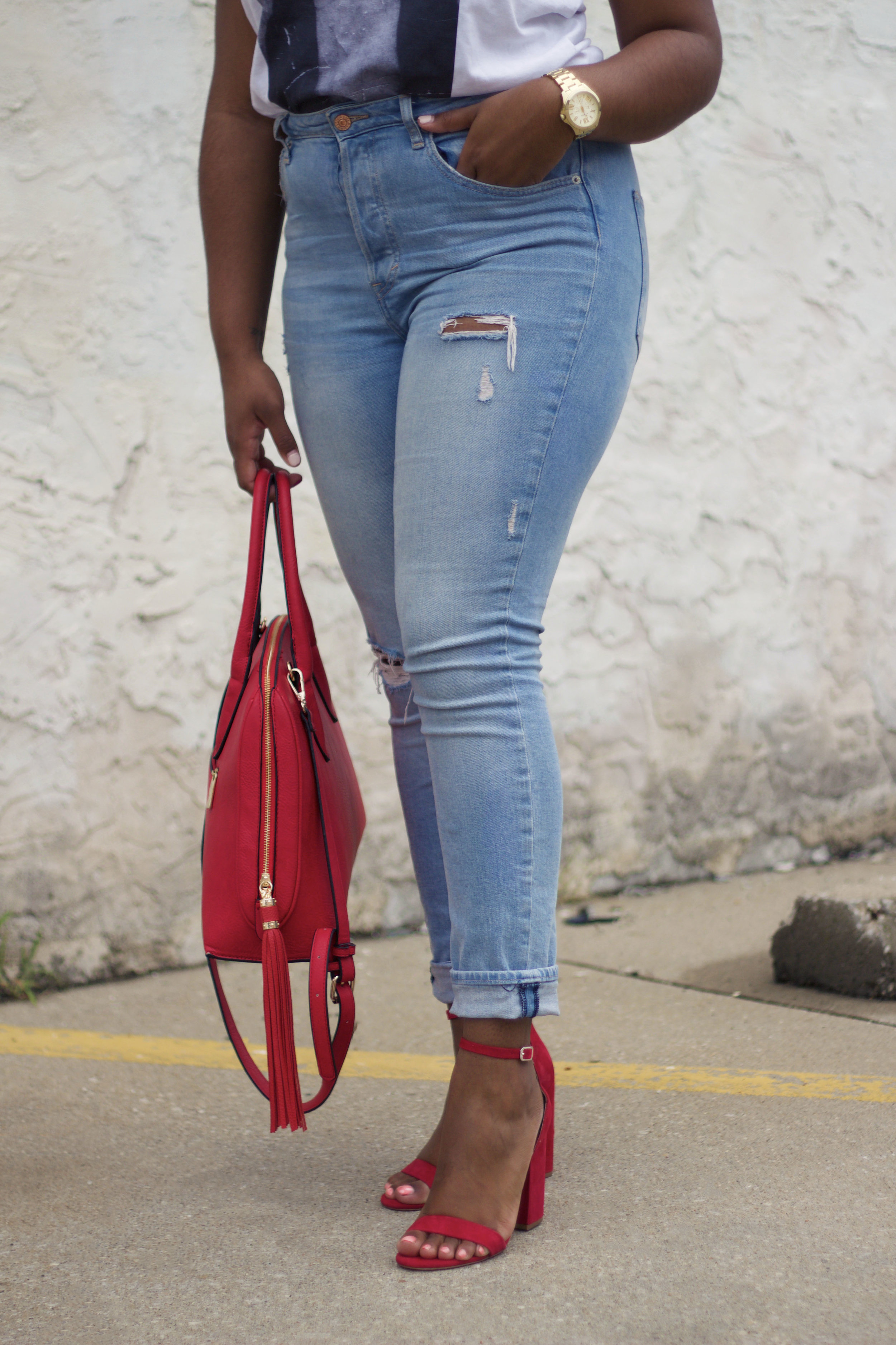 Red heels with a red bag on jasminediane.com
