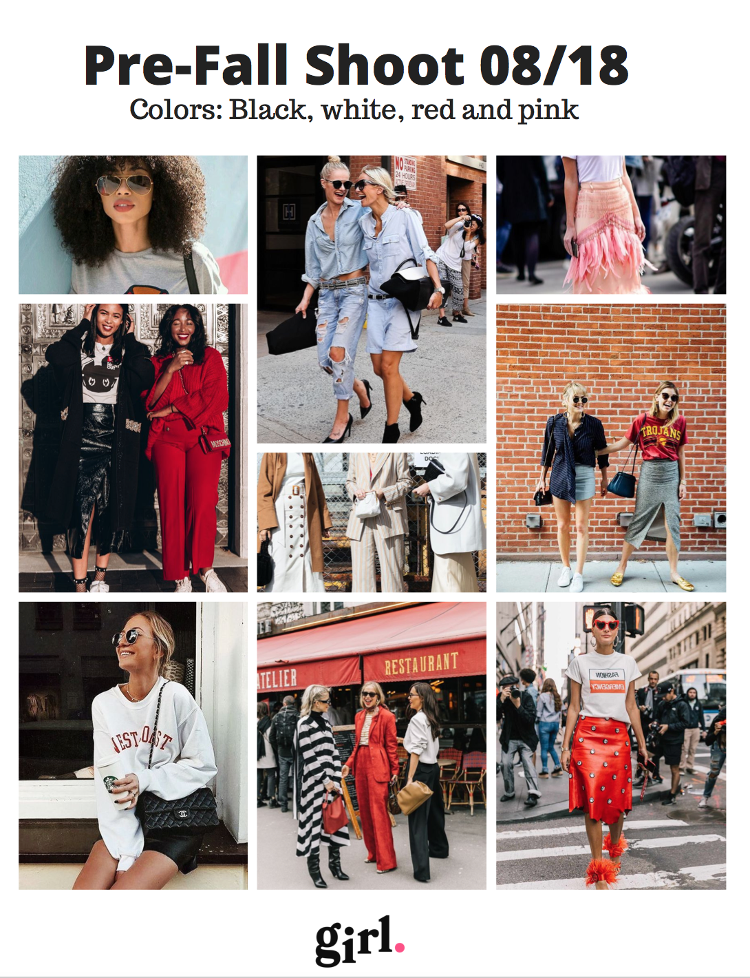 My girl stories fall 2018 photo shoot mood board with street style images from Pinterest.