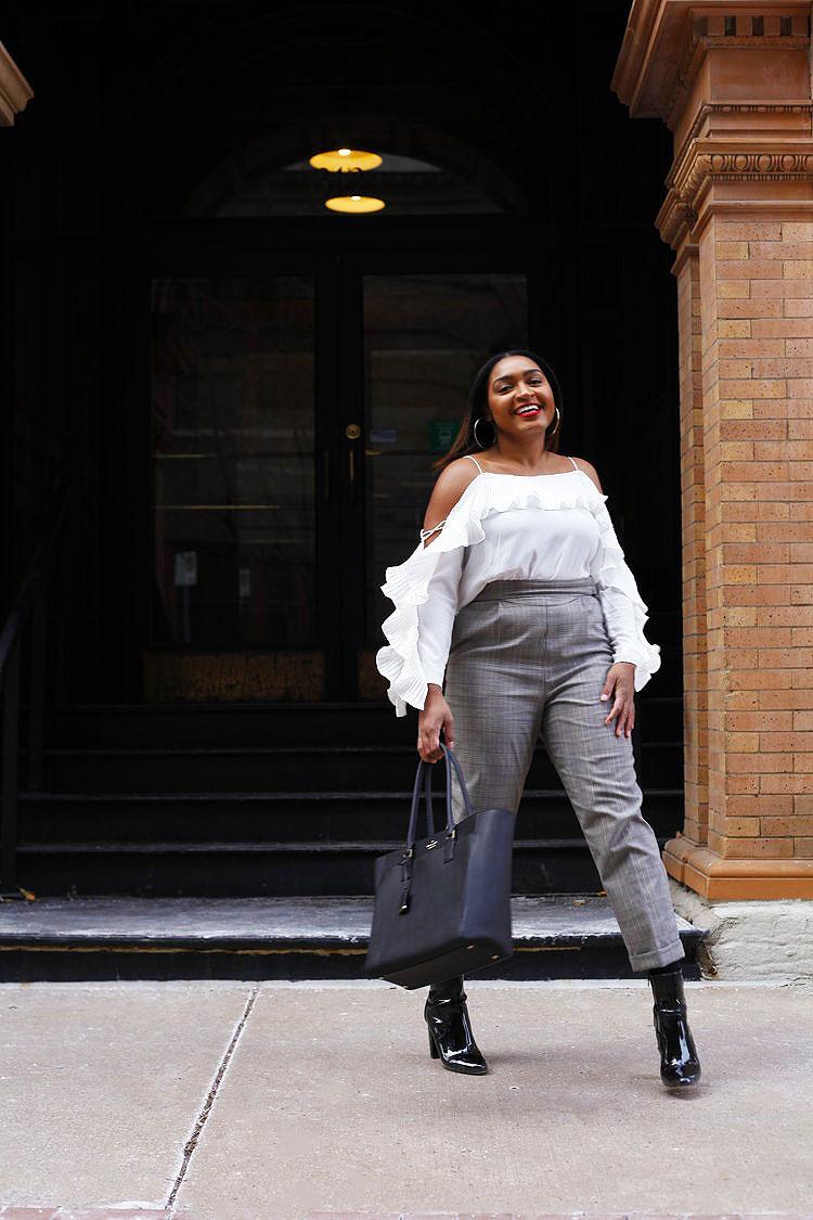 Jasmine Diane wearing high waist pants