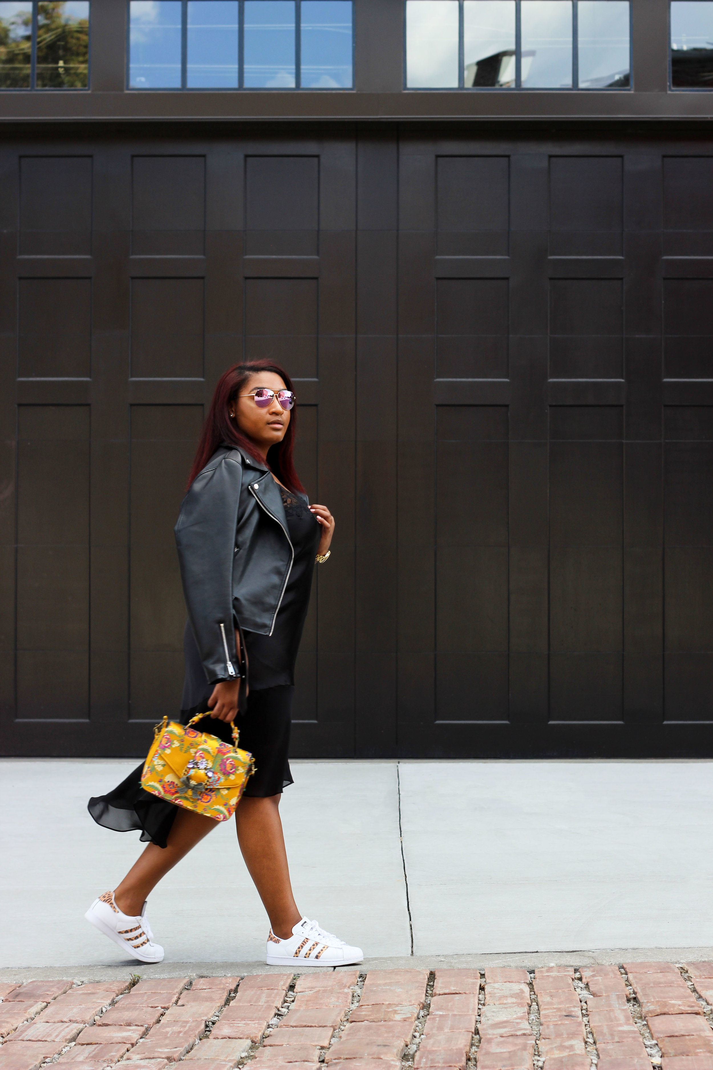 jasmine diane wearing black leather moto jacket from asos