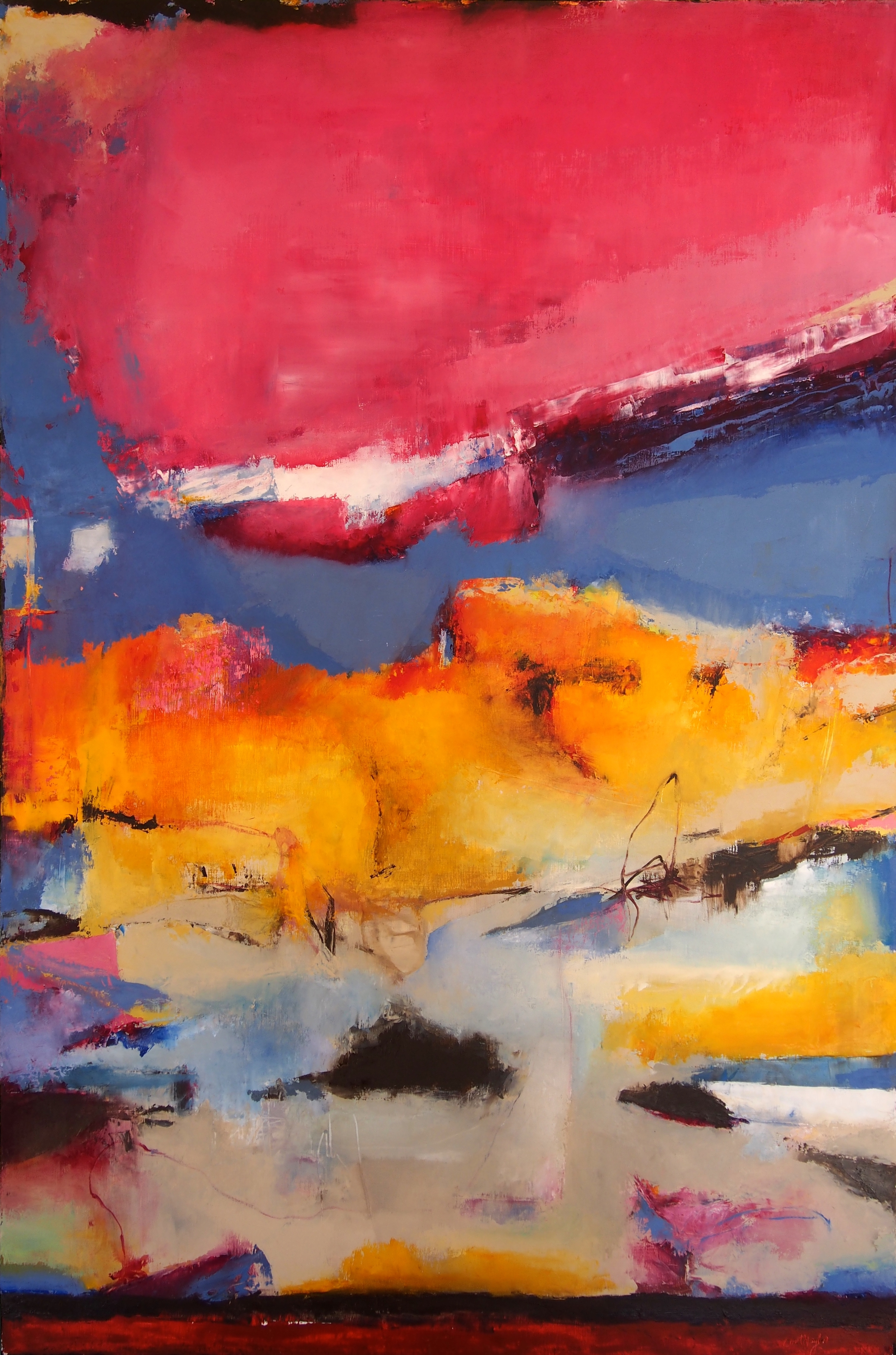 March Dawn Oil and cold wax on birch panel 60 x 40 inches