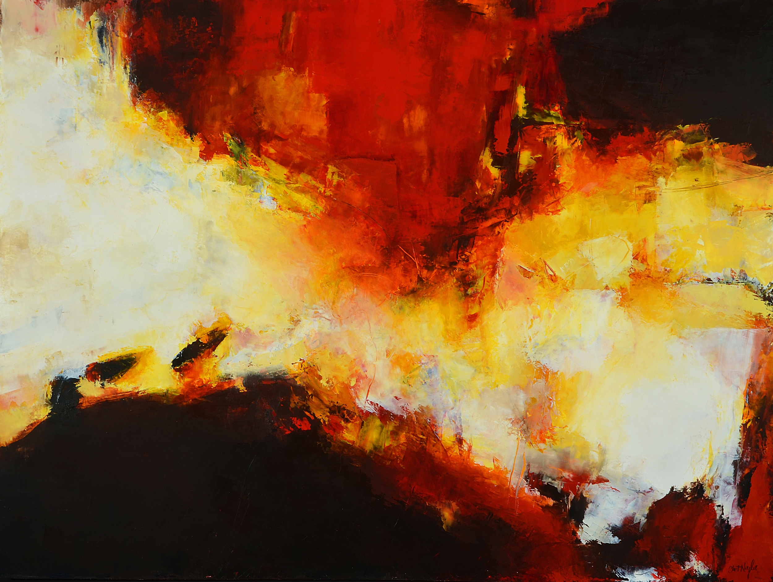 Autumn Fire Oil and cold wax on birch panel 48 x 36 inches