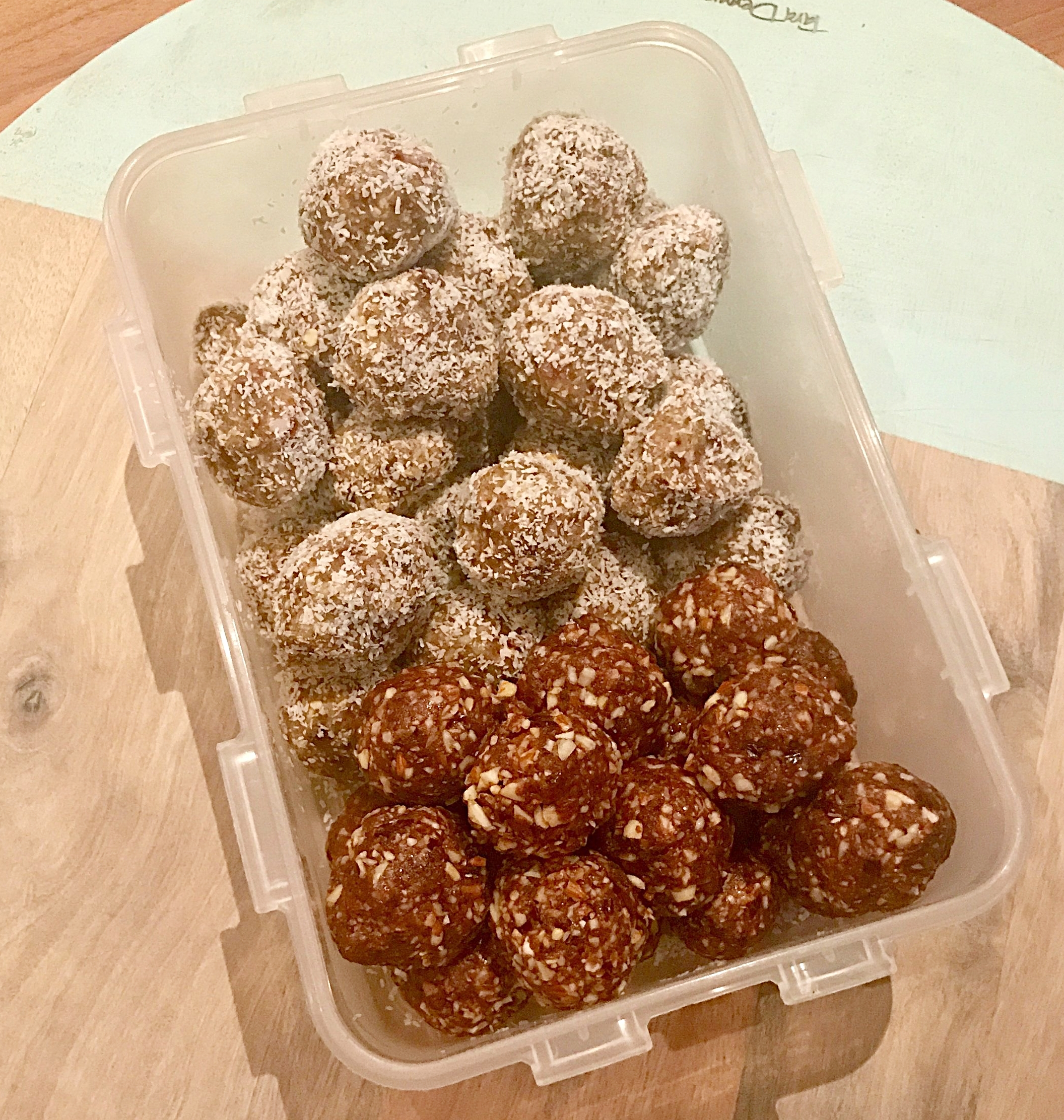 Bliss Balls pictured here with Energy Balls (rolled in coconut) from recipe previous post.