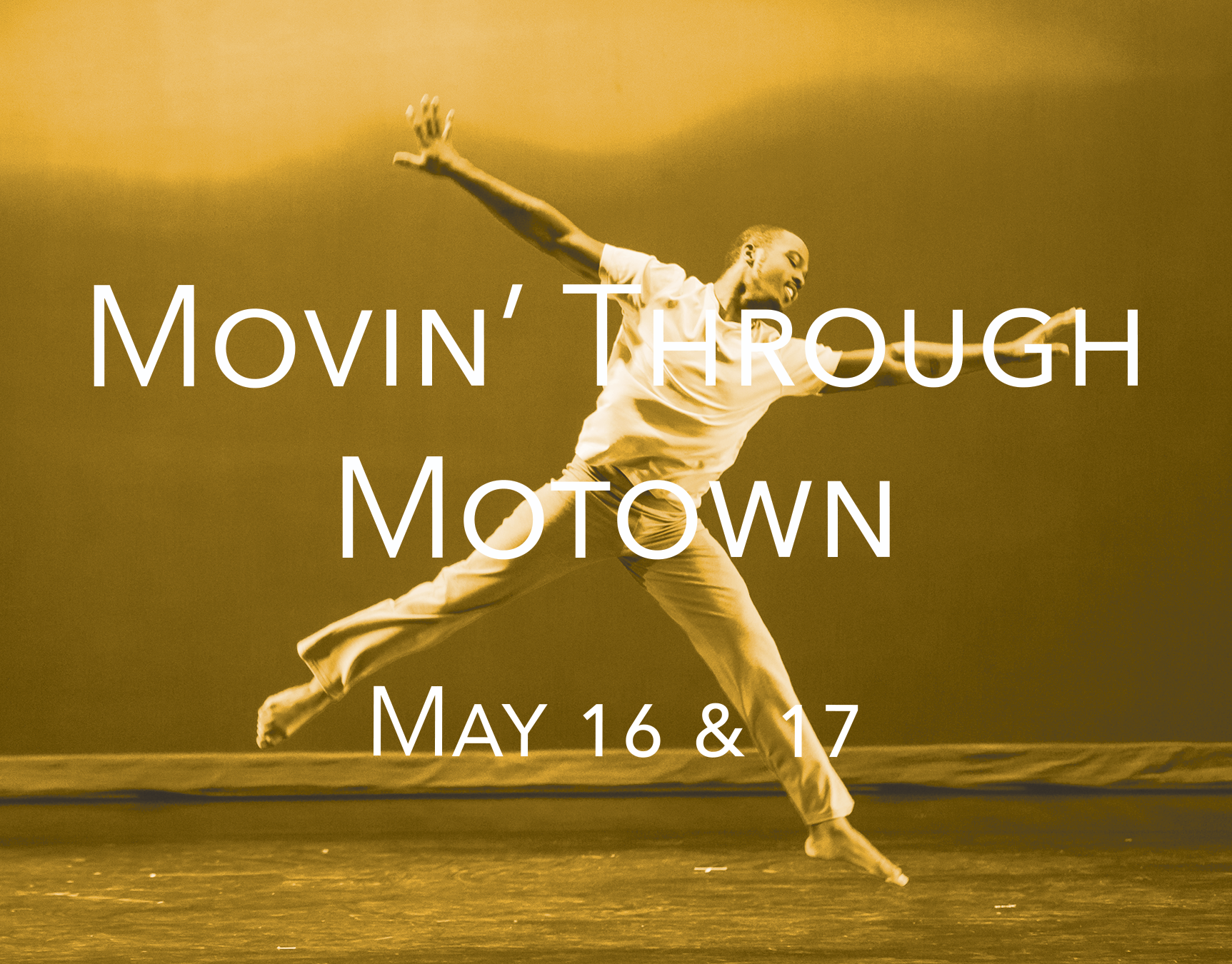Movin' Through Motown - Saturday, May 16 | 1p, 1:30p, 2p, 2:30pSaturday, May 16 | 7p, 7:30p, 8p, 8:30pSunday, May 17 | 1p, 1:30p, 2p, 2:30pGet your groove on as you explore the Motown Mansion made famous by Berry Gordy courtesy of present homeowner, Alan Brown! The fun-loving and engaging EDD dancers take the audience on a musical road trip through the mansion with traveling dance vignettes featuring the energy and soul, gospel and grit, that made the Motor City famous. Follow that unmistakable Motown sound as it leads you from room to room!$35 General Admission$30 Senior (Ages 62+)$30 StudentMotown Mansion918 W Boston Blvd, Detroit, MI 48202