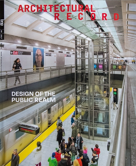 The 2nd Avenue Subway on the cover of the April 2017 Architectural Record. © Jeff Goldberg/Esto