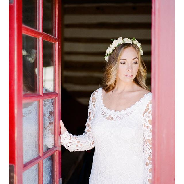 Such a sweet capture of the bride at her @farmhouserental wedding... Photography: @annadelores  Hair + makeup: MakeupByMar.com for TEAM using @thmhairextensions in color Nicole  Bride's dress: @dreamersandlovers_