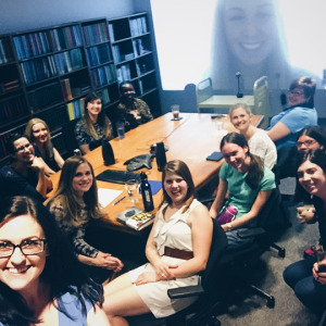 Pictured: me, discovering the best use for a selfie stick, my book club, and Jessica Knoll on the big screen!