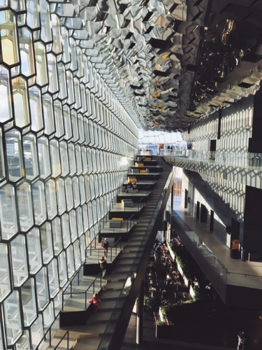 The interior of Harpa Concert Hall.