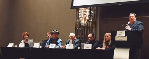 From left: Sandra Brown, Lee Child, David Morrell, Nelson DeMille, R.L. Stine, Heather Graham, and Jeff Ayers