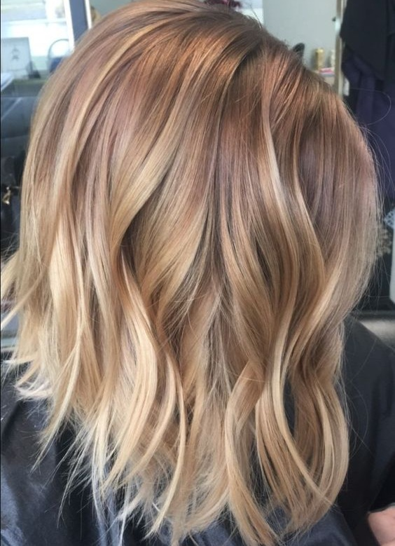 Honey Blonde Balayage - This style integrates very similar warm honey shades throughout the hair for an all-over sun-kissed look.