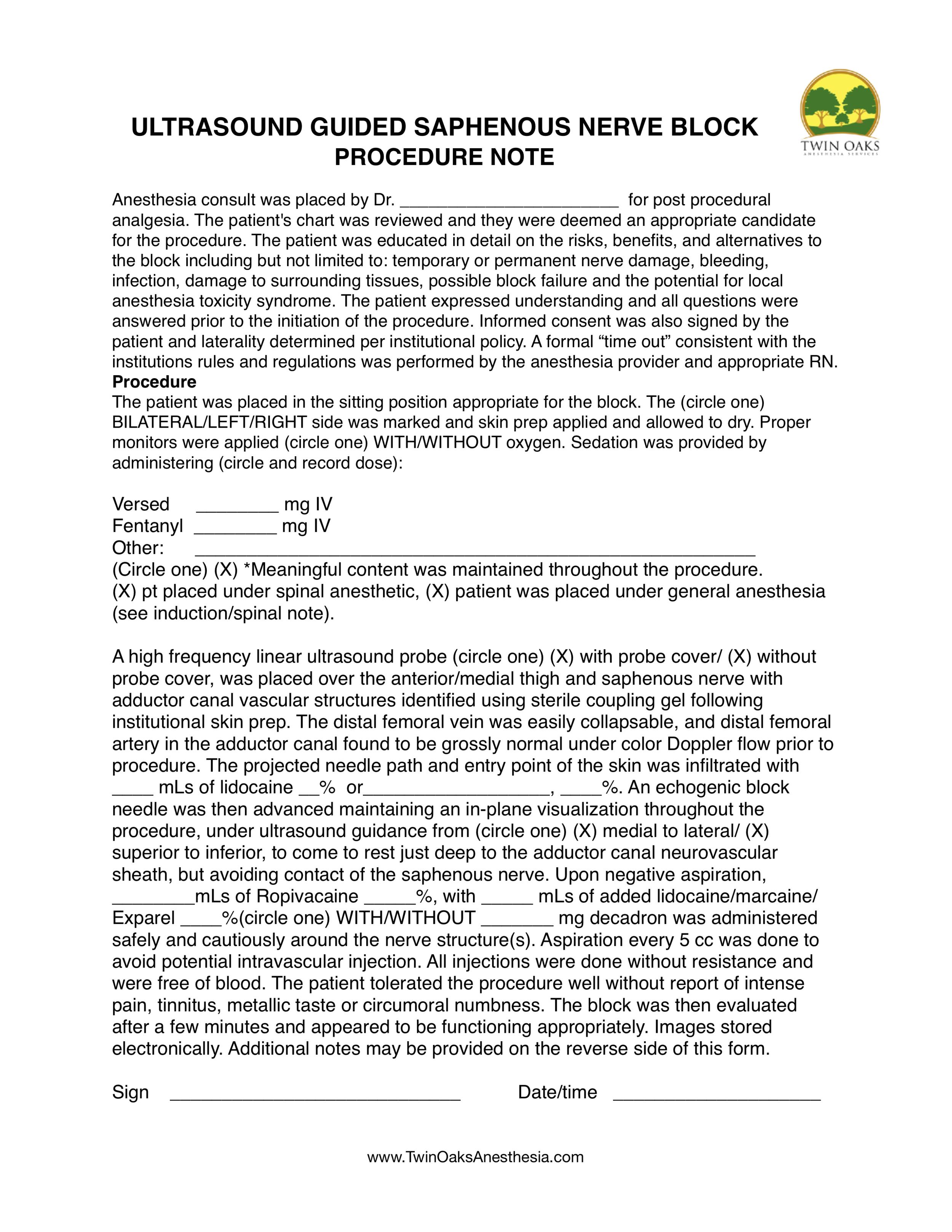Saphenous nerve block Procedure Form.png
