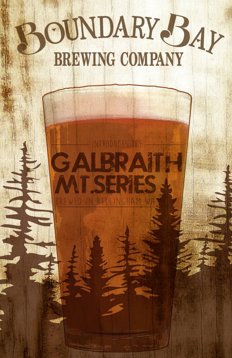 Galbraith Mt. Series Poster   Main poster design for the Galbraith Mt. Series. Individual 11x17's were created for each of the seven beers to follow. They included (in order): Cedar Dust IPA, Lost Giants CDA, Safety Break ISA, Not Shawn's Saison, Wonderland Belgian Strong Golden, Whoopsie Woodle Vienna Lager & Kaiser Schwarzbier.