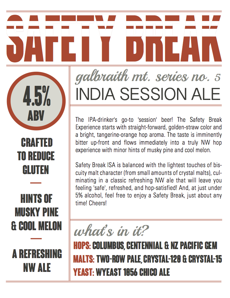 Fact Sheet   I was in charge of the PR launch of Boundary Bay's first gluten-reduced beer, Safety Break ISA. One of the first and only certified reduced-gluten beers in the United States! This ended up being a challenging yet exciting PR endeavor due to FDA labeling regulations. Here is an example of a fact sheet I created for Safety Break. More ...