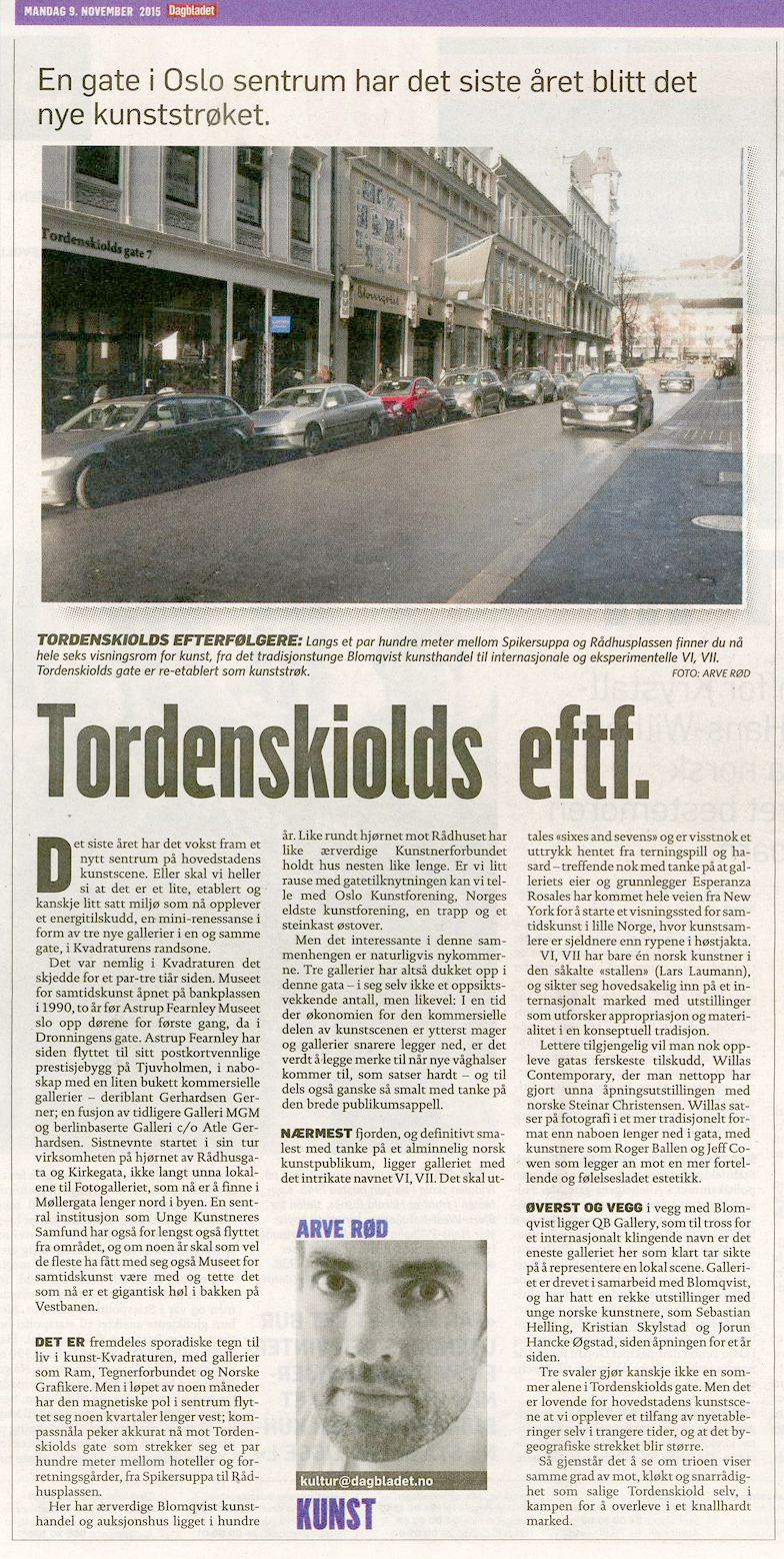 Oslo Gallery District in Dagbladet