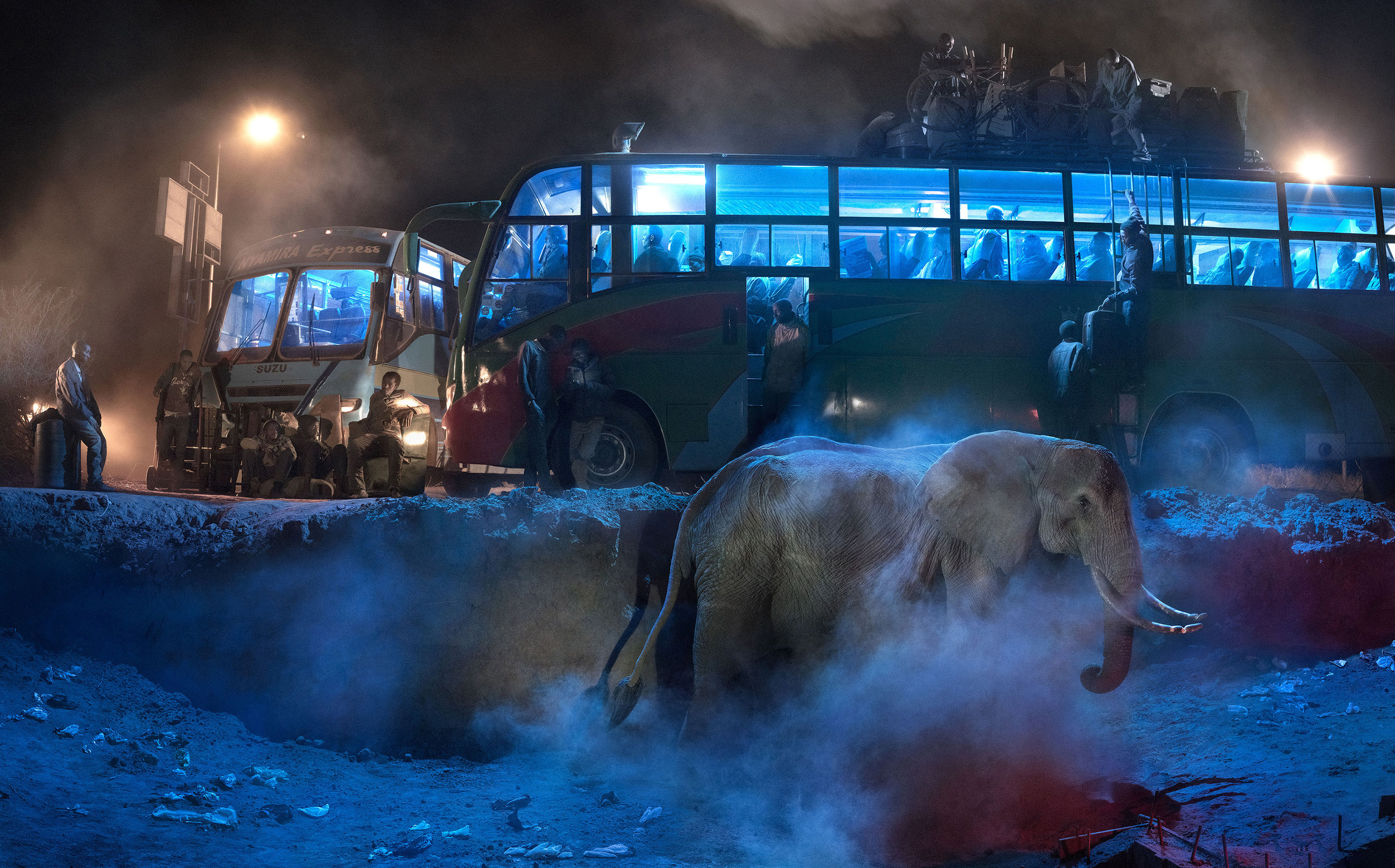 Nick Brandt   Bus station with Elephant, 2018   Archival pigment print, edition of 15 106.7 x 213.4 cm   INQUIRE