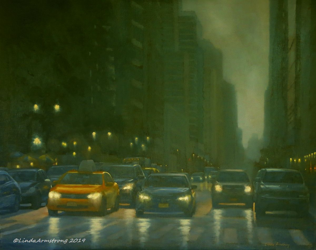 6th Ave at Bryant Park   oil  16x20