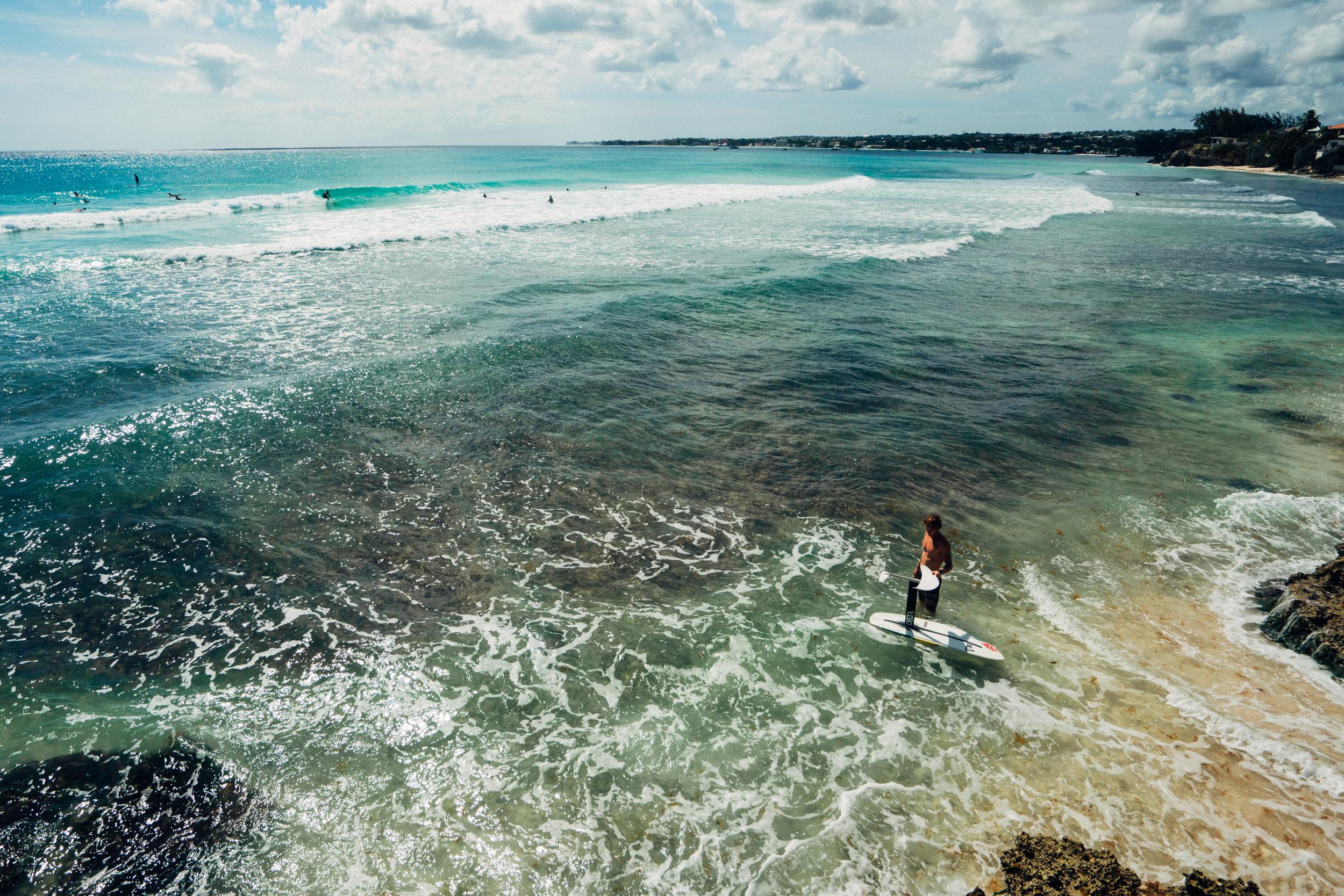 Drone shot of Foil Surfer