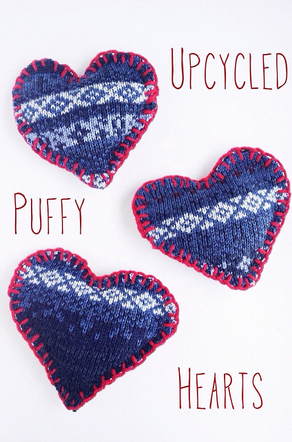 Upcycled Puffy Hearts on Maker Mama