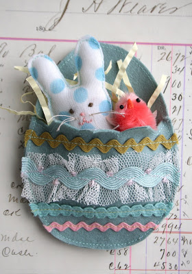 Stuffie Bunny in an Artful Egg by the Adventures of Bluegirl
