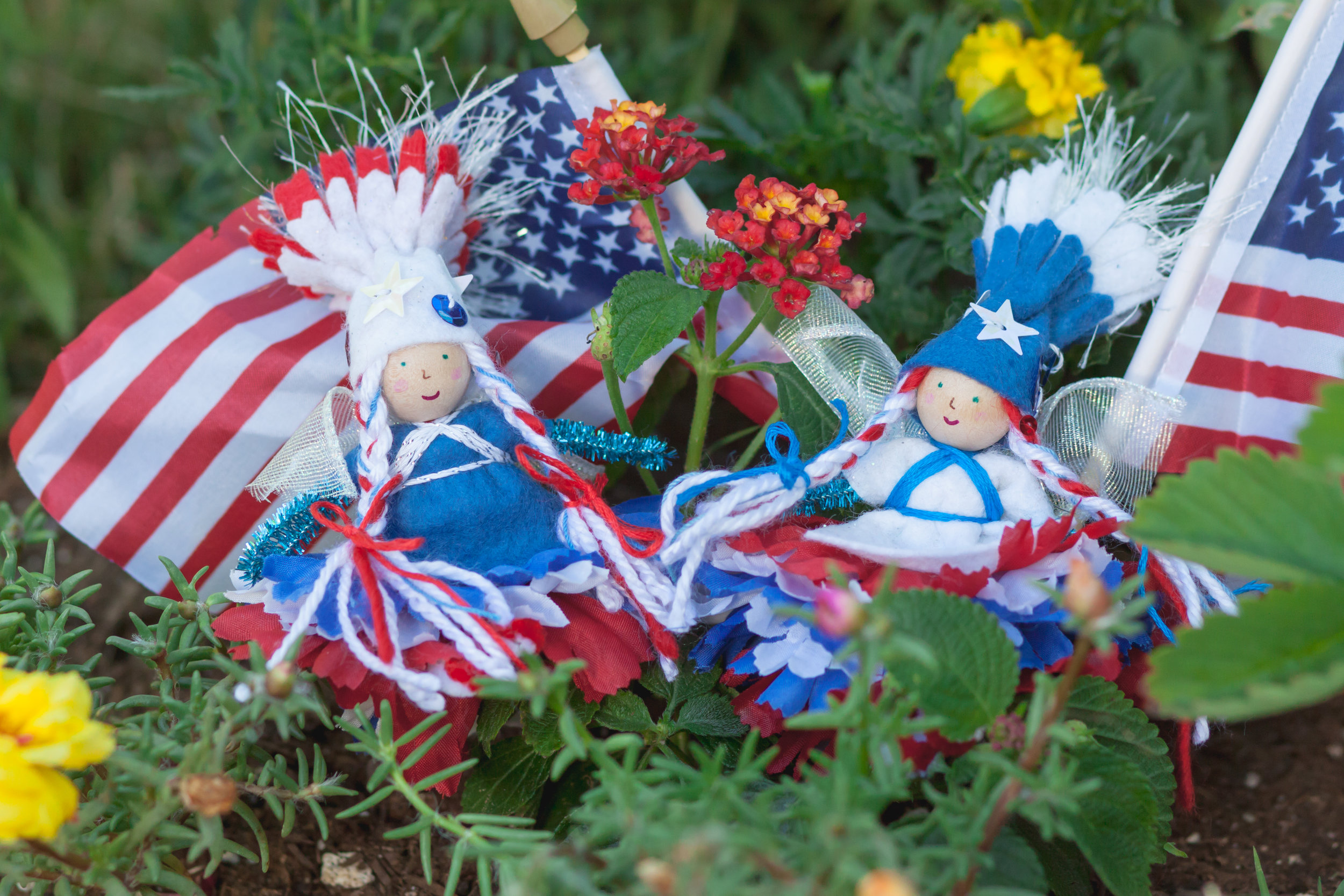 Forest Fairy Crafts | Red, white, and blue patriotic bendy fairy dolls