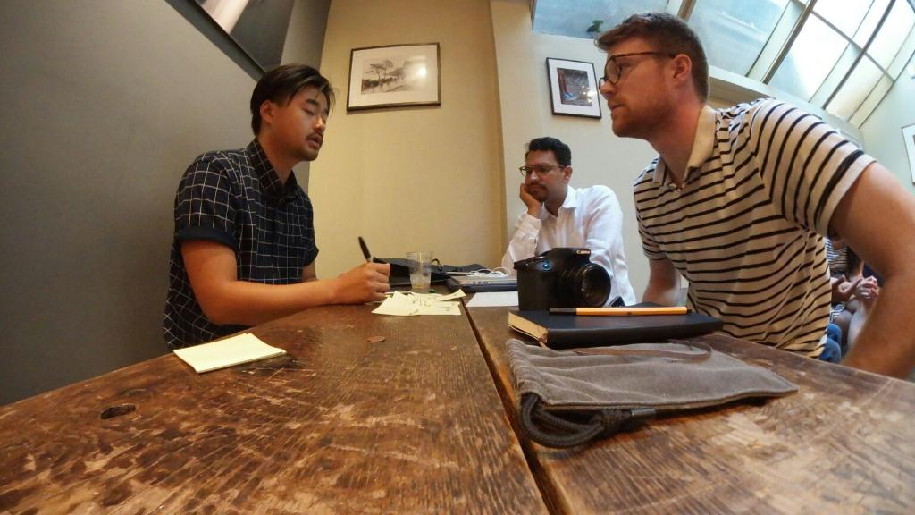 Facet co-founders Nick Ramsay and Ivan Gabriel Ramierz plan a 360 video shoot with collaborator Tai Koga.