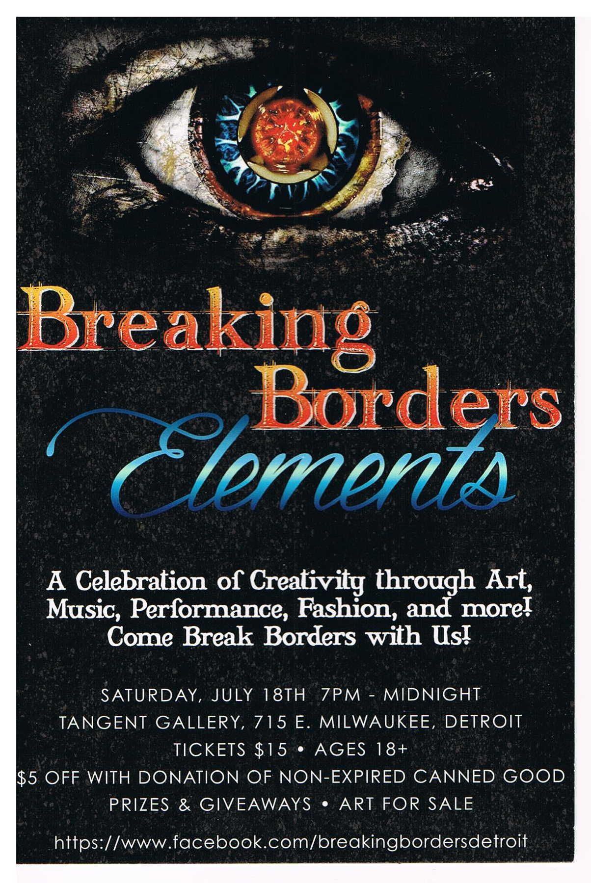 Breaking Borders: Elements , 2015, at The Tangent Gallery, Detroit MI