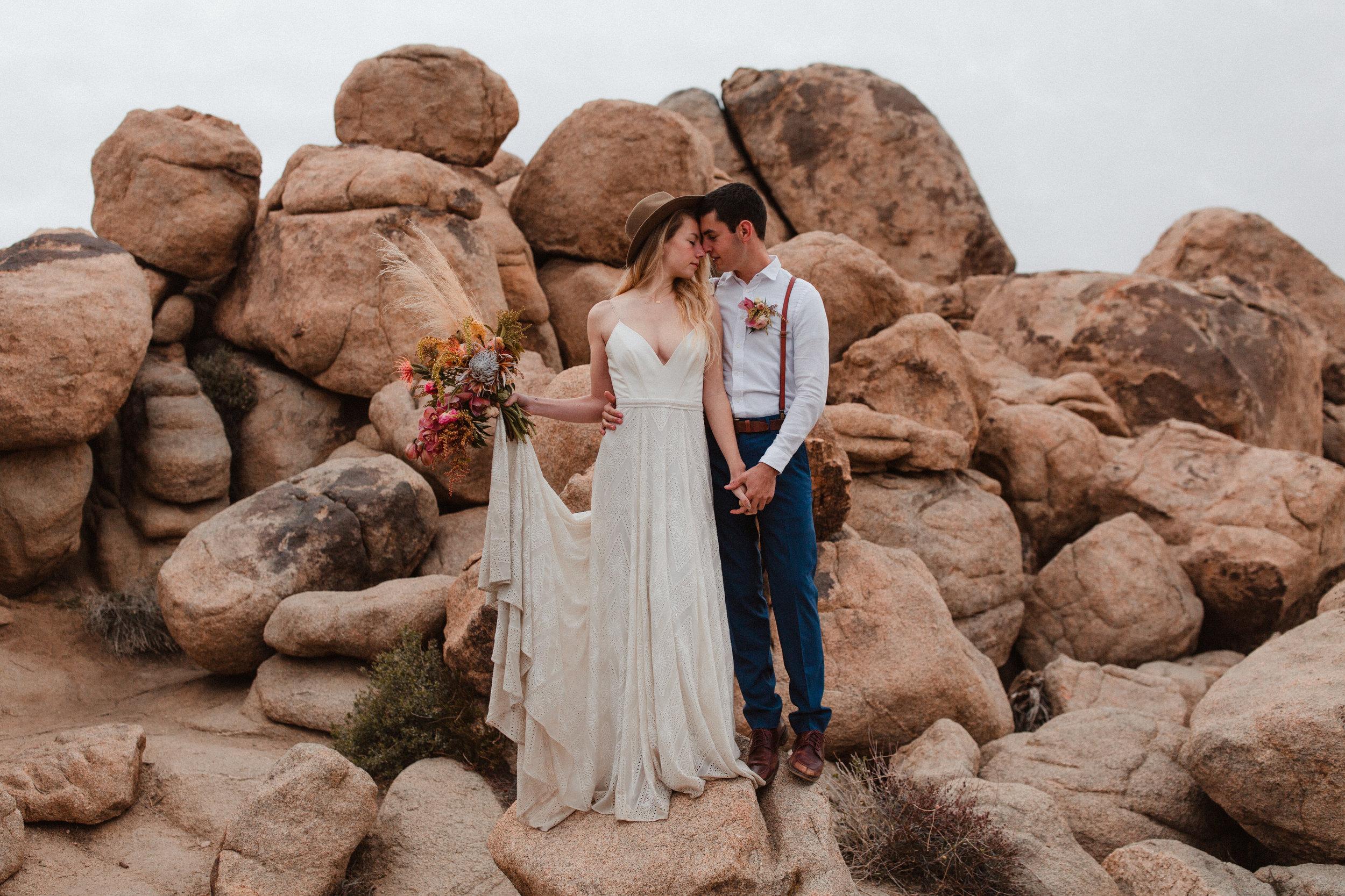 Hannah + Cole | Romantic Joshua Tree Elopement at Sunset