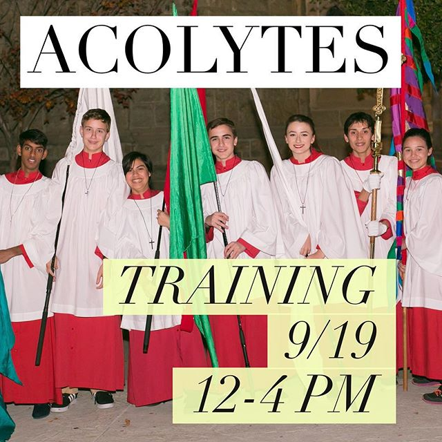 Don't forget Acolyte Training this Saturday! AKA TOMORROW!! 12-4 pm. See ya'll here!